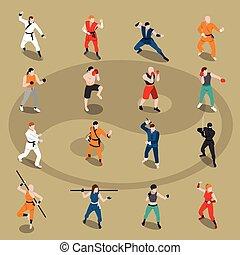 Martial Arts Isometric People Set - Isometric set of people...