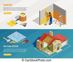 Home Renovation Isometric Horizontal Banners - Home...