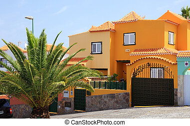 Luxury spanish villa building, Tenerife Island, Canary.