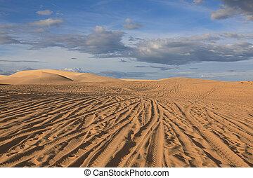 Sand dunes. Mui Ne, Vietnam - Amazing view of sand dunes on...