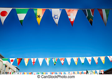 in south africa decorative waving flags - blur in south...