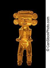 Pre-Colombino, hembra, oro, estatuilla, central, América