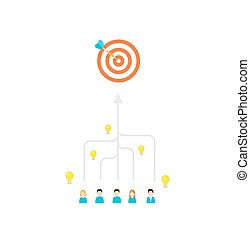 Teamwork concept. Arrows from people moving to one goal -...