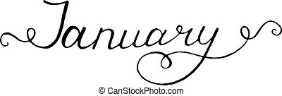 January. Typographic Design. Black Hand Lettering Text...