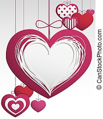 Paper hanging hearts - Paper hanging love hearts card full...