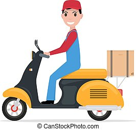 Vector flat cartoon delivery man on a scooter