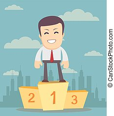 Businessman winner standing in first place on a podium he...