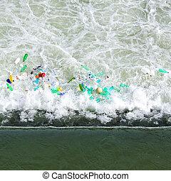 Barrage waste - Plastic bottles waste pollution at river...