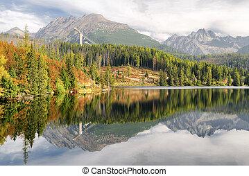 Beautiful landscape - tarn Strbske pleso, Slovakia -...