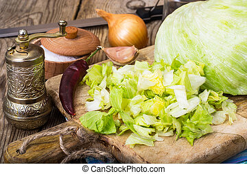 Chopped iceberg lettuce -ingridient for cooking. Studio...