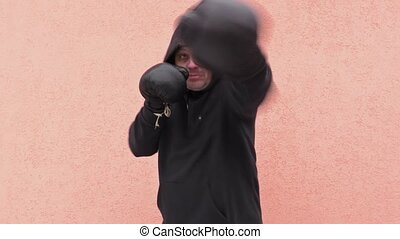 Man practicing boxing