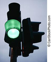 grön, trafik, lätt