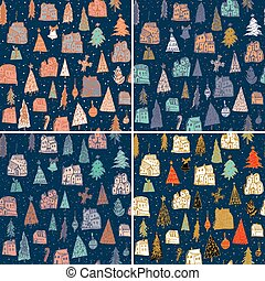 Set of Christmas pattern Vector illustration. Use for Greeting Scrapbooking, Congratulations, Invitations, for winter holidays design.