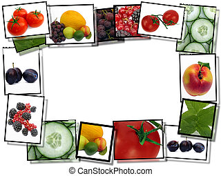 Healthy food concept, film plates with fresh food images...