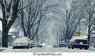 Snow Falling On Road By Houses Moving Shot - Moving slowly...