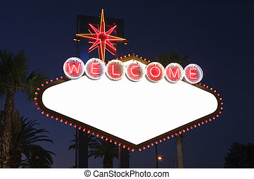 Las Vegas Blank Sign at Night - Blank Las Vegas sign with...