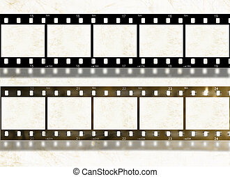 Blank film stripes, old and new, design elements - Blank new...