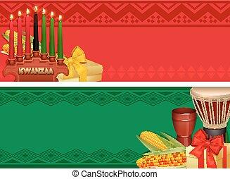 Kwanzaa Holiday Celebration Colorful Banners Set - Kwanzaa...