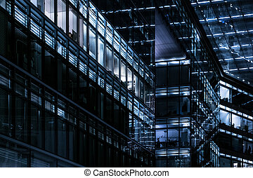office building facade at night -city lights - office...