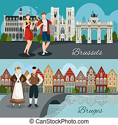 Belgian Cities Flat Style Compositions - Flat style...