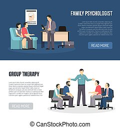 Two Psychologist Banners - Two horizontal psychologist...