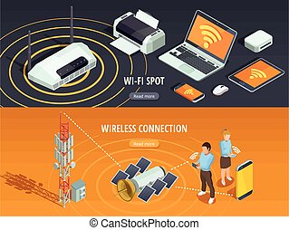 Wireless Technology Isometric Horizontal Banners Set -...