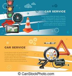 Car Maintenance Horizontal Banners - Car maintenance...