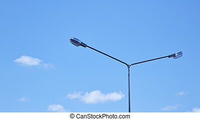 Lamp post on a street in bright day