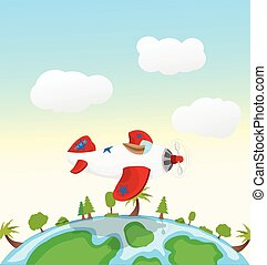 cartoon red and white airplane flying