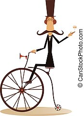 Cartoon man rides a bike - Gentleman with mustache, top hat...