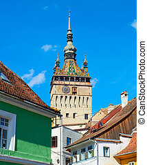 Clock Tower. Sighisoara, Romania - View of famous Sighisoara...