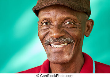 Seniors People Portrait Happy Old Black Man With Hat - Real...