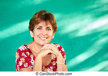 Real People Portrait Happy Mature Hispanic Woman Smiling -...