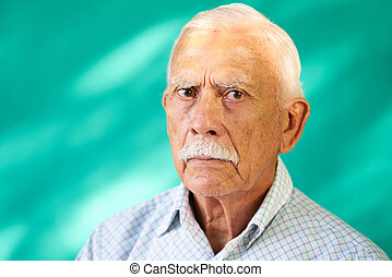 Real People Portrait Sad Elderly Hispanic Man White Grandfather