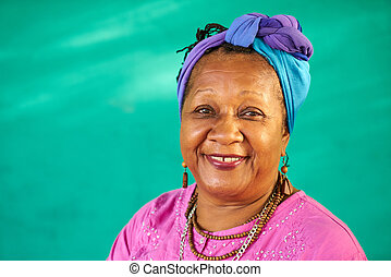 Real People Portrait Old Black Woman Smiling At Camera - Old...