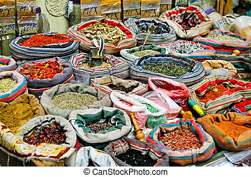 Market spices - Spices sold on Cairo market in sacks