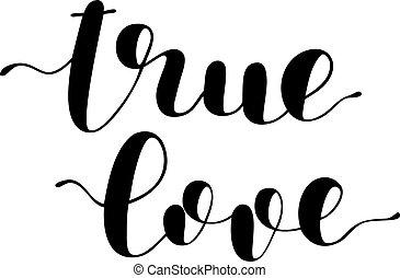 True love. Brush lettering vector illustration. - True love....