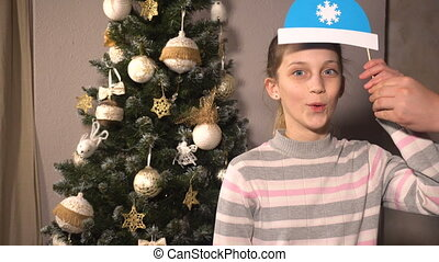 Teen girl with christmas props mask - Teen girl with funny...