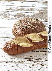 bread and coffee on a white background