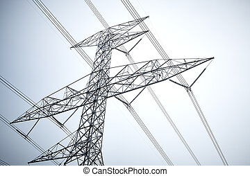 Transmission tower with cable line