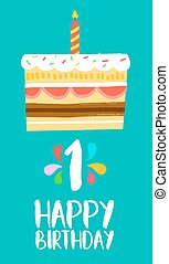 Happy Birthday card for 1 one year fun party cake - Happy...