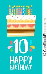 Happy Birthday cake card for 10 ten year party - Happy...
