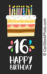 Happy Birthday cake card 16 sixteen year party