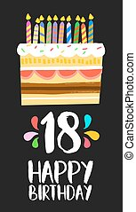 Happy Birthday cake card 18 eighteen year party - Happy...