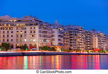 Thessaloniki quay at twilight, Greece - Skyline of...