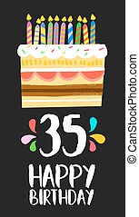 Happy Birthday card 35 thirty five year cake - Happy...