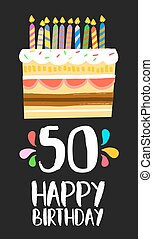Happy Birthday card 50 fifty year cake