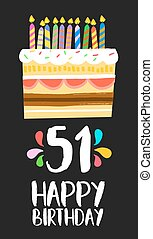 Happy Birthday card 51 fifty one year cake