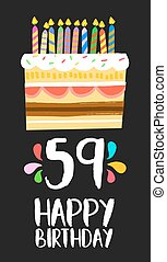 Happy Birthday card 59 fifty nine year cake
