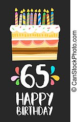 Happy Birthday card 65 sixty five year cake - Happy birthday...